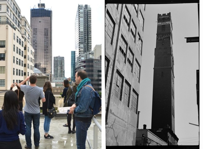 Left – A view of Melbourne Central's surrounding streets and buildings, photographed by Michael Brady on Dale Campisi's history tour. Right – Knox Place in 1966. Photograph by K. J. Halla.