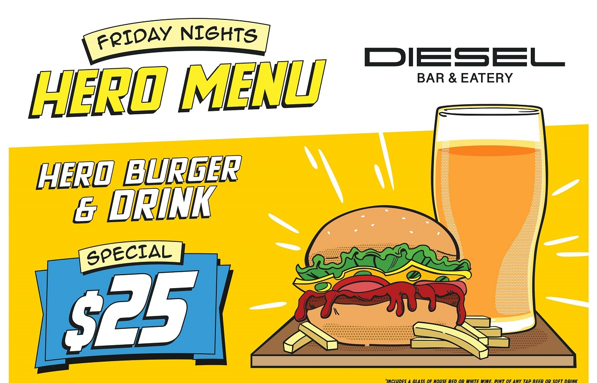 Friday Nights Hero Menu at Diesel Bar