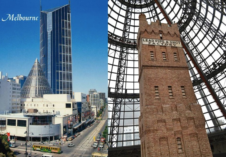 Left – Postcard featuring Melbourne Central in the early 1990s. Right – The Coop's Shot Tower, Michael Brady Photography.